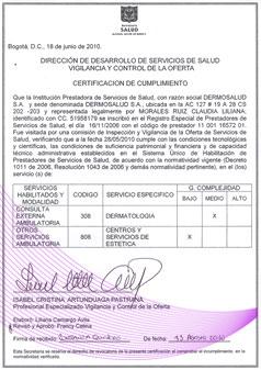 Certificación Secretaría de Salud
